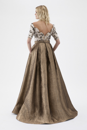 Gold Small Size Long Evening Dress Y7561