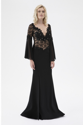 Black Small Size Long Evening Dress Y7598