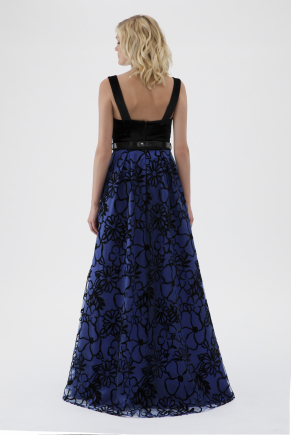 Blue Small Size Long Evening Dress Y8042