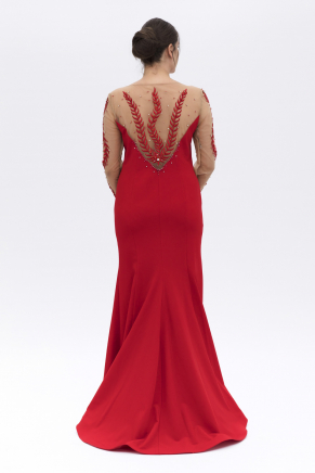 Dragon Red Big Size Long Long Sleeve Evening Dress K6015