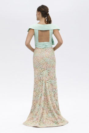 Nıle Green Small Size Short Sequin Evening Dress Y7193