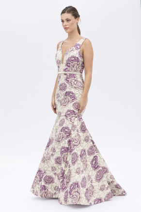 Lavender Lılac Small Size Long Evening Dress Y7556