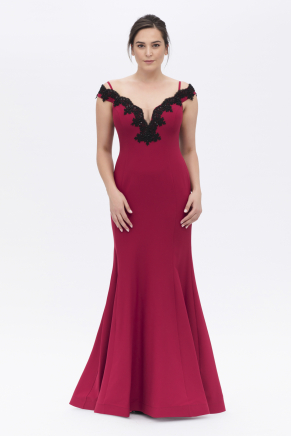 Burgundy Big Size Long Evening Dress Y6424B