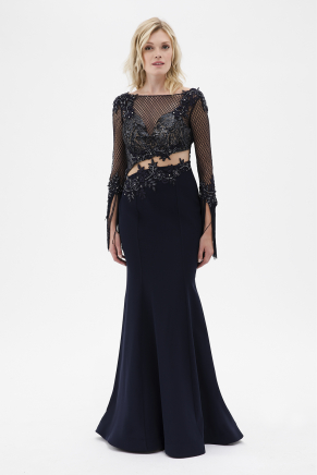 Navy  Small Size Long Evening Dress Y7550