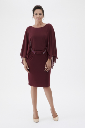 Burgundy Big Size Short Evening Dress K7816