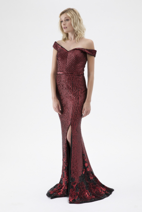Black/dragon Red Small Size Long Evening Dress K7827