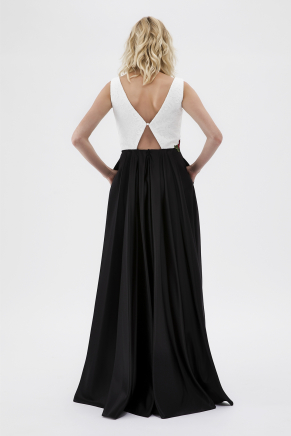 Whıte/black Small Size Long Evening Dress Y7693