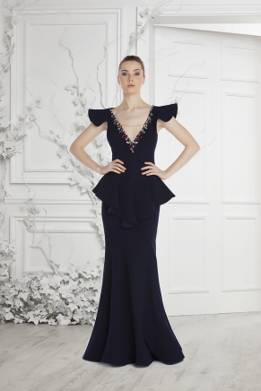 Navy  Small Size Long Evening Dress Y7407