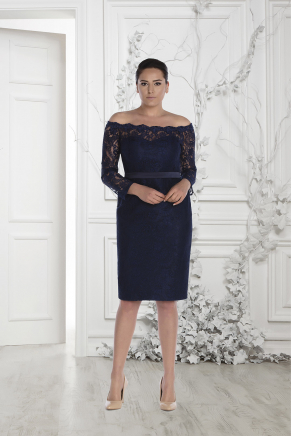 Navy  Big Size Short Evening Dress Y7529