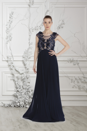 Navy  Small Size Long Evening Dress Y7537