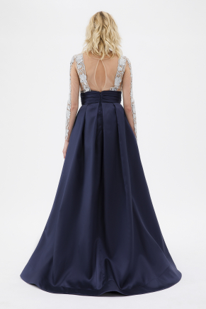 Navy/sılver Small Size Long Evening Dress Y7557