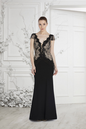 Black/gold Small Size Long Evening Dress Y7571