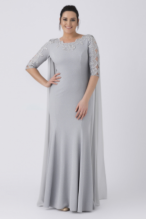 Grey Big Size Long Evening Dress Y8249
