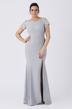 Grey Big Size Long Evening Dress Y8281