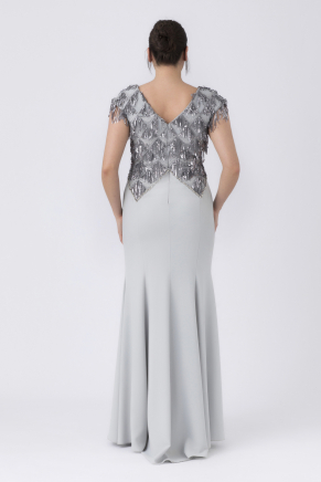 Grey Big Size Long Evening Dress Y8287