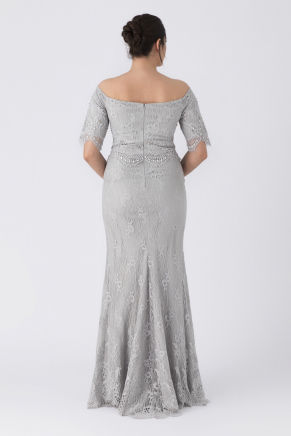 Grey Big Size Long Evening Dress Y8302
