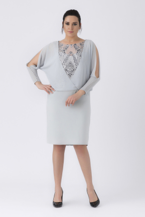 Grey Big Size Short Evening Dress Y8397