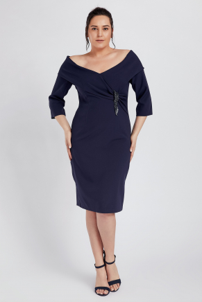 Dark Blue Big Size Short Engagement Dress K8915