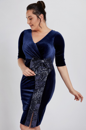 Dark Blue Big Size Short Engagement Dress K8981