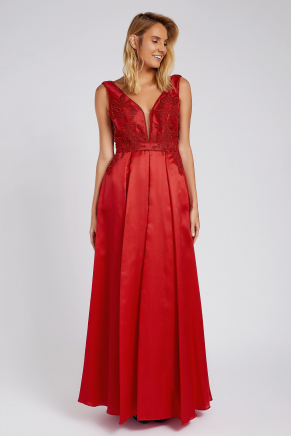 Red Small Size Long Evening Dress Y8181