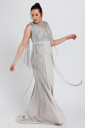 Grey Big Size Long Evening Dress Y8250