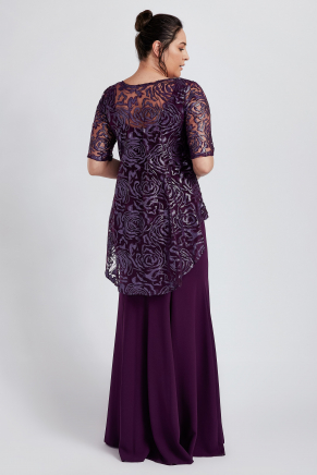 Purple Big Size Long Engagement Dress Y8335