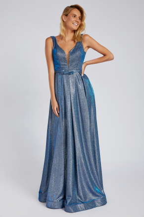 Grey Small Size Long Evening Dress Y8528