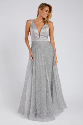Grey Small Size Long Evening Dress Y8655