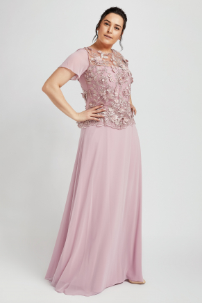 Pink Big Size Long Evening Dress Y8660