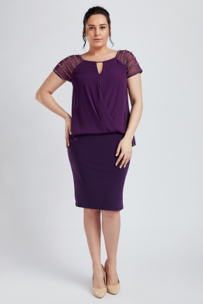 Purple Big Size Short Engagement Dress Y8677