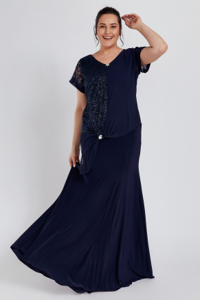 Dark Blue Big Size Long Engagement Dress Y8689