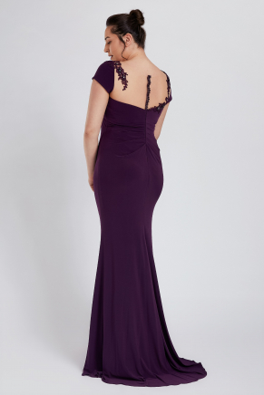 Purple Big Size Long Engagement Dress Y8755