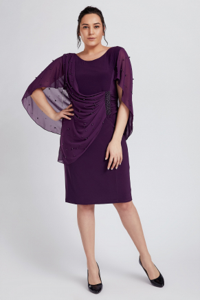 Purple Big Size Short Engagement Dress Y8759