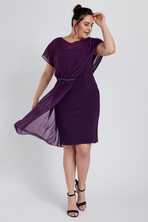 Purple Big Size Short Engagement Dress Y8777