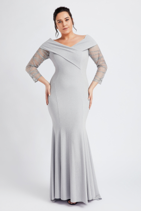 Grey Big Size Long Evening Dress Y8789