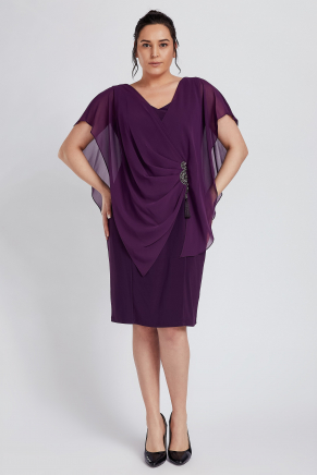 Purple Big Size Short Engagement Dress Y8770