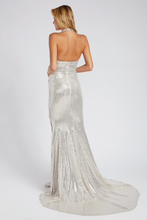 Silver Small Size Long Evening Dress Y9175