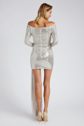 Silver Small Size Short Evening Dress Y9176