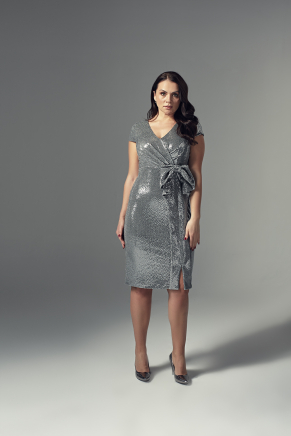 Grey Big Size Short Evening Dress Y9197