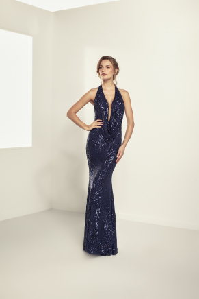 Dark Blue Small Size Long Engagement Dress Y9180