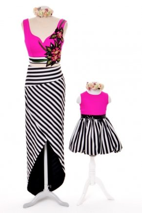 KIDS SIZE SHORT MOM & KIDS DRESS Y6425