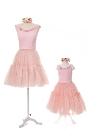 KIDS SIZE SHORT MOM & KIDS DRESS Y6429