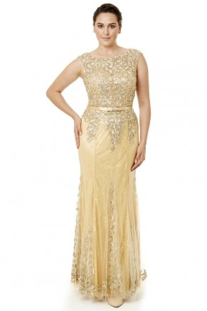 Gold Small Size Long Sleeveless Evening Dress Y6471