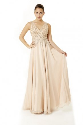 Gold Small Size Long Sleeveless Evening Dress Y6474