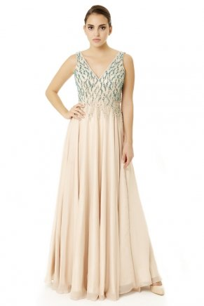 Long Small Size Sleeveless V Neck Evening Dress Y6474