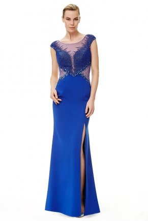 Long Chiffon Small Size V Yaka Evening Dress Y6483