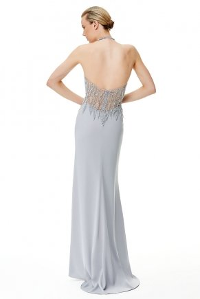Long Cleavage Small Size Halter Strap Evening Dress Y6494