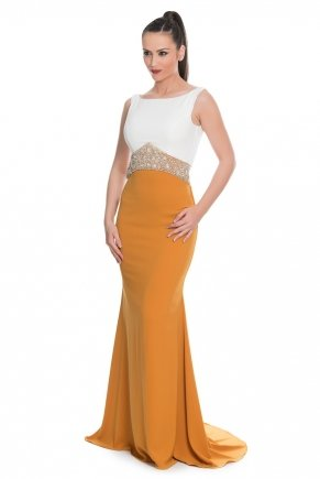 Mustard Yellow/whıte Long Small Size Open Back Evening Dress Y5308
